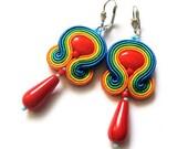 Multicolor RAINBOW soutache earrings Boucles d'oreilles green blue red yellow orange orecchini ohrringe TOHO oaak gift for her under 50