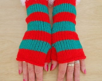 Women Fingerless Mittens, Stripe Mittens, Christmas Mittens, Mittens in Red and Green, UK Seller