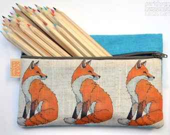 Fox Illustration Linen Zipper Pencil Pouch / Makeup Bag / Pencil Case