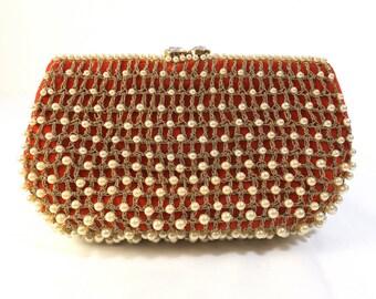 NETTIE ROSENSTEIN Red Velvet Clutch with Pearls
