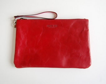Cherry Red Charlie Bag (medium) - Handmade Leather Clutch