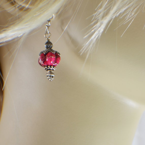 Pink jasper dangle earrings fluted gemstone beads with pewter accents