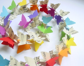 "Butterfly Garland ""Rainbow Colours & Upcycled Sheet Music"" - Eco-friendly gift - Gifts for her - Mothers Day Gift - Nursery Decor - Recycled"