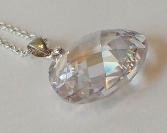 Crystal Cubic Zirconia Briolette Pendant Necklace