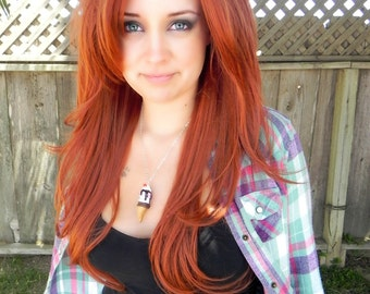 Beautiful Redhead / Copper Red Ginger / Long Straight Wavy Layered Wig Full Body Rust