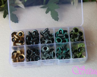 Kit of 12mm Color  and CAT Safety Eyes for needle felting-totally 50 pairs