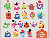 Buy 2 Get 2 Free ---- Digital Christmas Monsters ---- Personal and Small Commercial Use ---- BB 0464