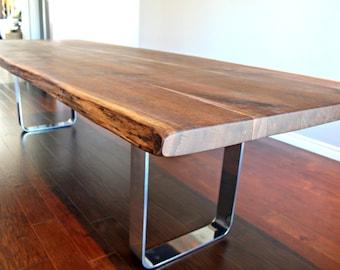 Salvaged live edge harvest table black walnut custom metal legs chrome modern design
