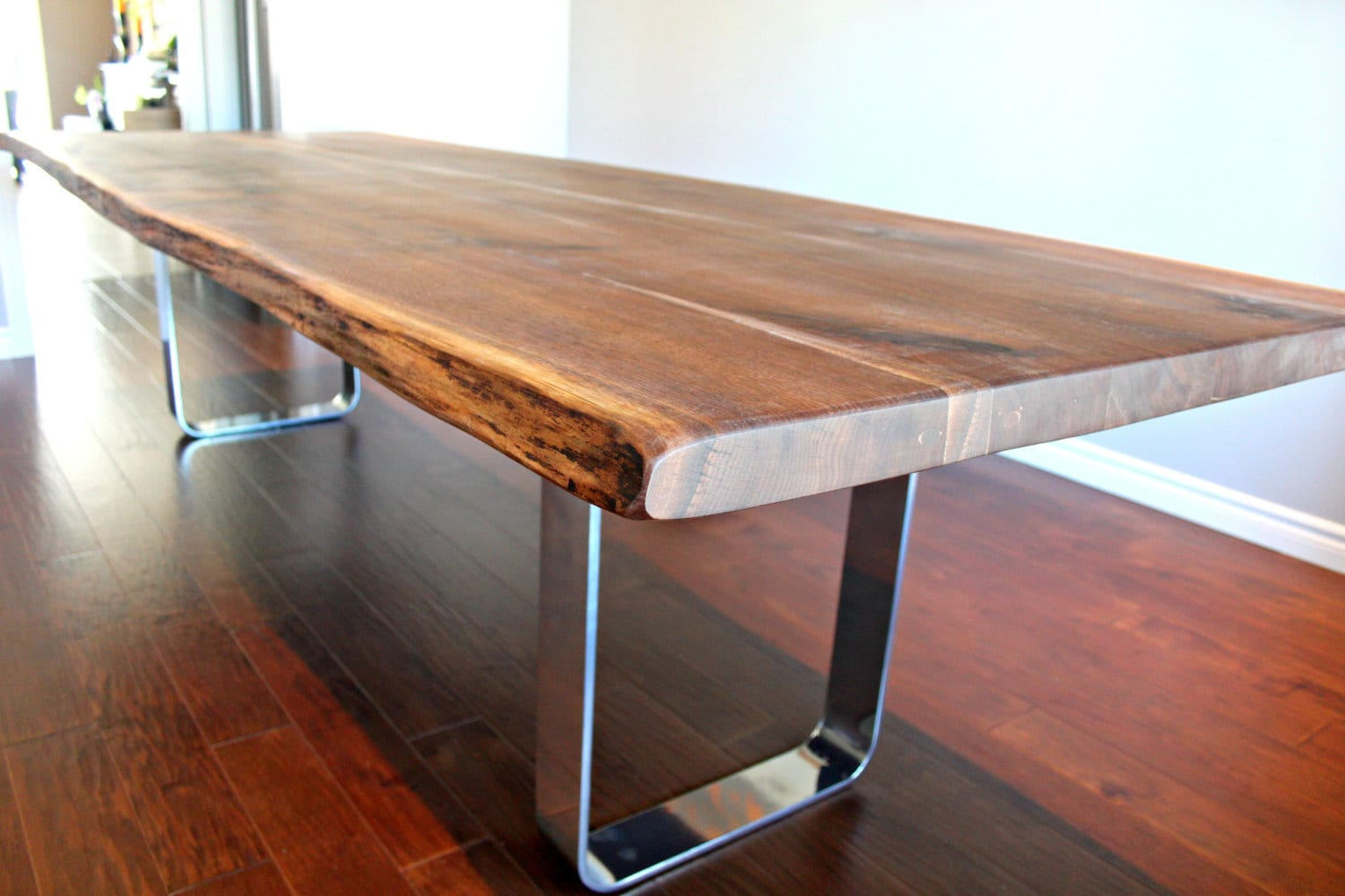 Salvaged Live Edge Harvest Table Black Walnut Custom Metal