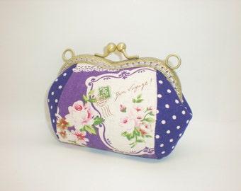 Purple dots rose floral lace coin/change pouch/purse/wallet w metal frame