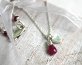 Hot Pink Sapphire Briolette Necklace - Small Silver Heart Charm-  - Wire Wrapped Handmade - Valentine's