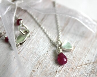 Silver Heart Charm and Pink Sapphire Necklace-  Thin  Silver Chain -Heart Jewellery  -Wire Wrapped Jewellery- Silver Lily