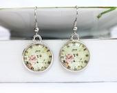 Vintage style clock art double sided resin earrings