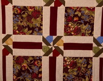 Burgundy Floral Quilted Wall Hanging