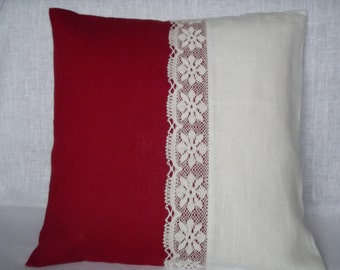 Decorative throw pillow cover natural linen cushion red white linen lace  20 x 20