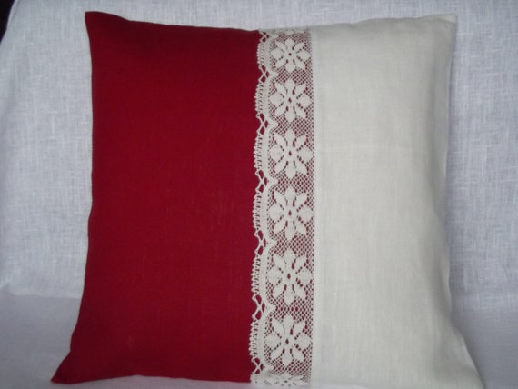 Decorative throw pillow cover natural linen cushion red white