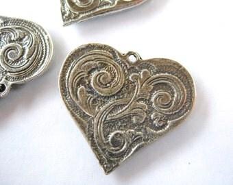 Large Sterling Silver 925 Artisan style heart charm flourish oxidized finish 24mm x 22mm bracelet charm pendant renaissance H101