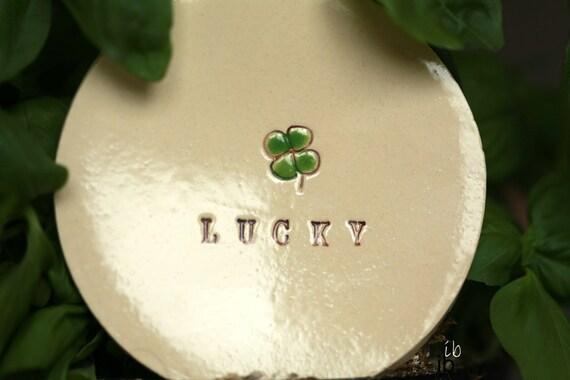 St. Patrick Shamrock Pottery Dish,  Lucky 4 leaves Clover Ceramic,  Inspirational Ring Holder, Lucky Trinket dish, Green clover ring  dish