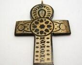 carved horn ankh egyptian cross pendant 78mm