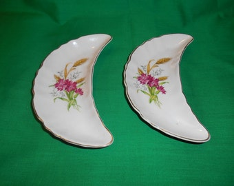 Two (2), Porcelain, Side Bone Plates, from CMI Chadwick, of Japan. in a Floral Design.