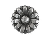 12 Morning Flower 9/16 inch ( 15 mm ) Metal Buttons Antique Silver Color