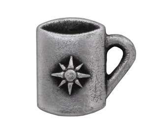3 Starburst Coffee Mug 9/16 inch ( 14 mm ) Metal Buttons Antique Silver Color