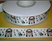 "7/8"" 50s Jukebox Music Guitar grosgrain ribbon 4 yards Sale Clearance rock and roll ribbon bow ribbon"