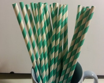 25 Paper Straws: Teal Stripes