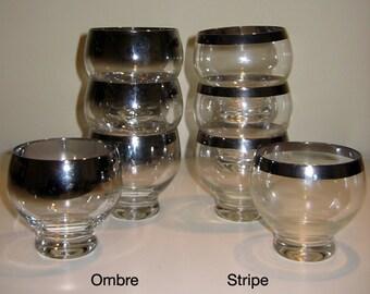 Vintage Mad Men 1960s Dessert Bowls, Silver Ombre Lustreware or Silver Rim, Set of 4 each