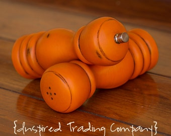 CHOOSE YOUR COLOR - Painted,Distressed, Wooden Pepper Mill and Salt Shaker - Barcelona Orange