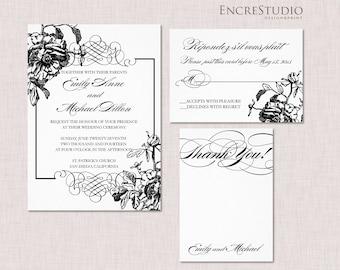 Printable Botanical Wedding Invitation - Peony Wedding