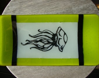Jellyfish plate, Neon green Glass fused rectangle dish