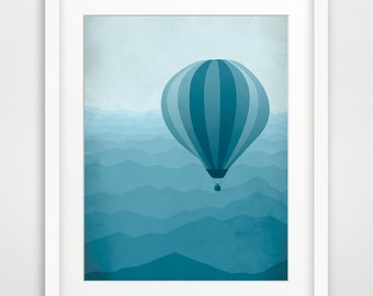 Baby Boy Nursery Decor, Blue Nursery Art Print, Teal Wall Art, Kids Wall Art, Kids Room Decor, Hot Air Balloon - More colors available