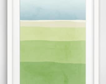 Blue Green Art Print, Nature Print, Abstract Landscape Art, Large Wall Art, Bathroom Art, Modern Abstract Art