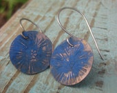 Bohemian Blue Earrings- Flower stamped boho earrings - CopperTreeArt
