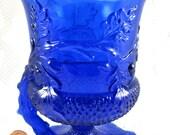 Mosser Acorn Handled Spooner Cobalt Blue Glass Oak Leaves Acorns
