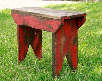 Primitive bench, Distressed bench, Farm table, Wooden Bench, Primitive footstool, Antique style bench