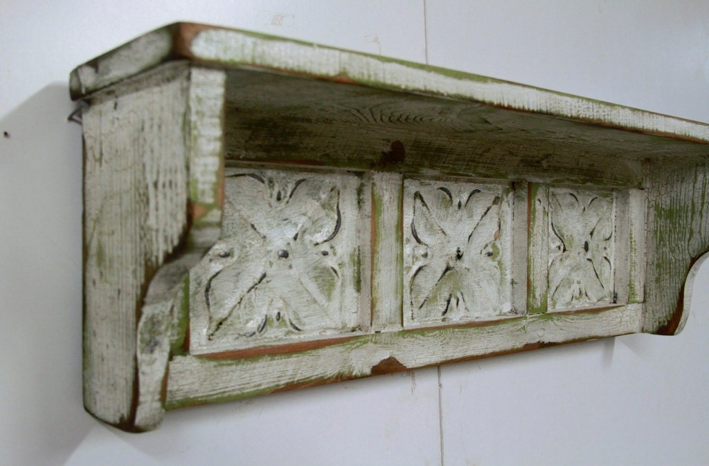 antique style wall shelf vintage wall shelf shabby chic wall. Black Bedroom Furniture Sets. Home Design Ideas