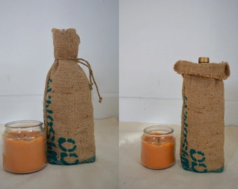Burlap Coffee or Wine Bag Rustic Decor Made from Recycled Coffe Bean Sack