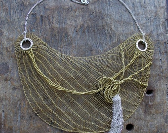 DESTINO Necklace Brass Wire Crocheted Bib Necklace/OOAK Lacy Statement Unusual Classy Chic Large Necklace. Made to order!