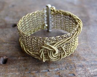 THE KNOT Brass Wire Crocheted Cuff Bracelet/ Elegant Classy Chic Cuff Bracelet/ Statement Brass Bracelet / Wire Crochet Jewelry