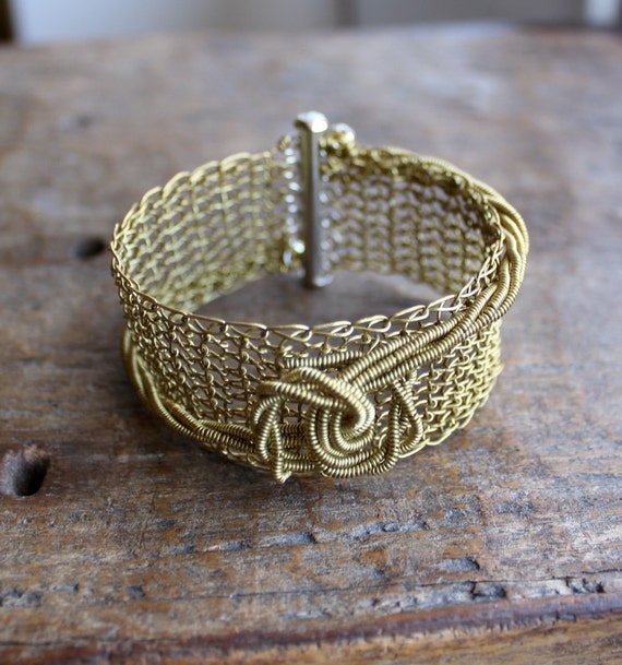 The Knot - Brass Wire Crocheted Cuff Bracelet