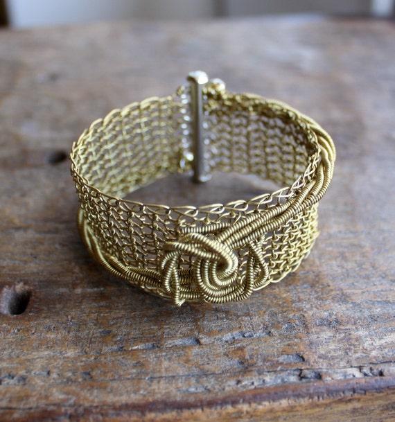 The Knot - Brass Wire Crocheted Cuff Bracelet