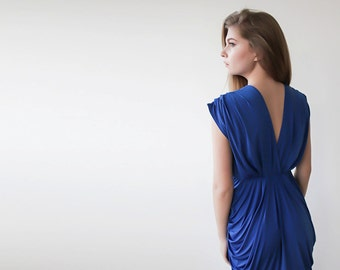 Bridesmaids maxi neon-blue gown, Maxi blue backless gown
