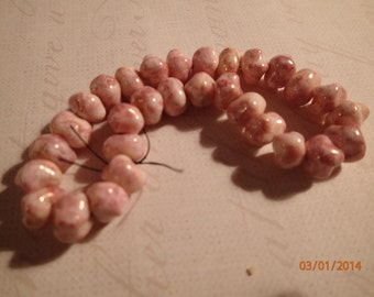 Vintage 1960's Pink and White Pebble Shaped Glass Beads/West German/PJsBeadedEagle