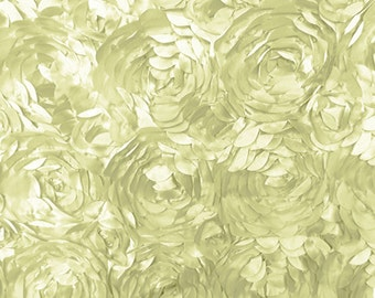 Satin Petal Rosette Ivory 58 Inch Fabric by the Yard, 1 yard.