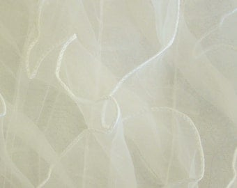 Ivory Ruffles on Mesh Organza 54 Inch Wide Fabric By The Yard