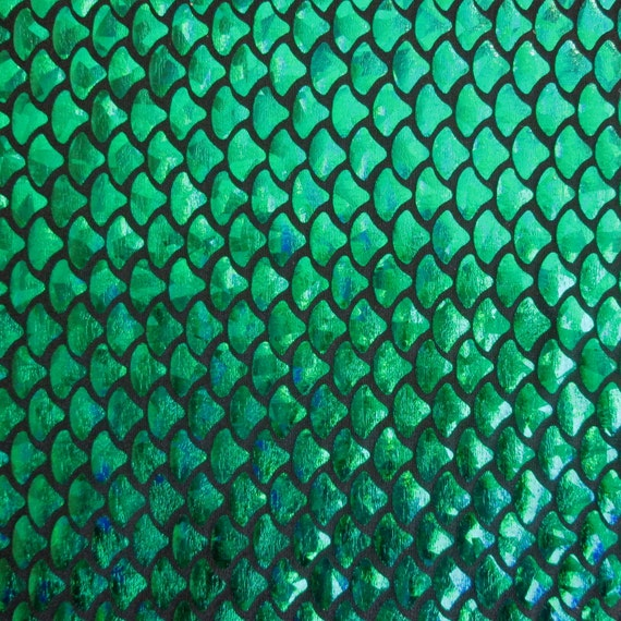 Spandex mini mermaid fish scale green 58 inches wide fabric by for Fish scale wallpaper