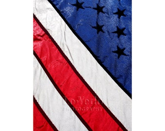 US Flag Photograph, Fourth of July, Red White and Blue, Stars and Stripes, Abstract Photo, Patriotic America