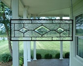 Stained Glass Textured Clear & Beveled Diamond Window Panel Transom
